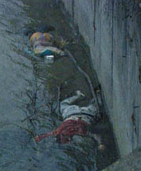 Serbian victims of Ramush Haradinaj\'s KLA Islamist Nazi mass murderers, thrown into the Radonjic Lake canal